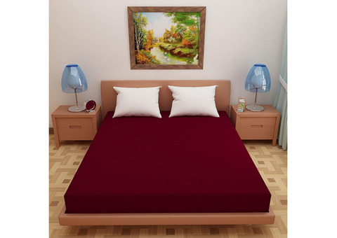 Lithara Waterproof Terry Cotton Fitted Single Bed Mattress Protector with Elastic Strap Maroon