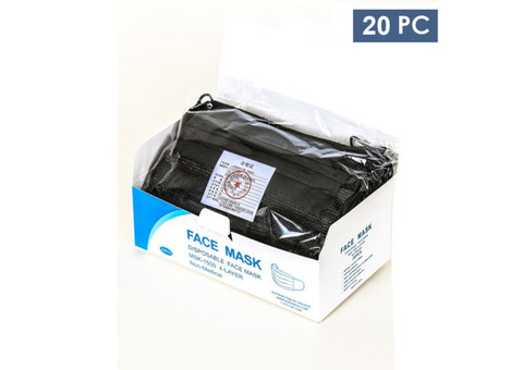 Disposable 4PLY Face Mask (Adults) – Jet Black – 20 Piece